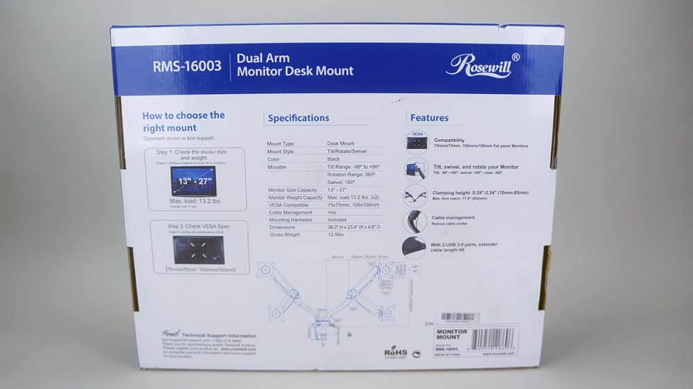 Rosewill RMS-16003 Dual Monitor Desk Mount