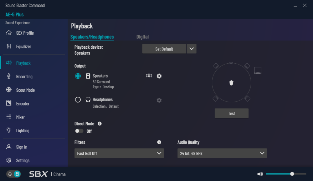 playback section sound blaster command